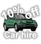 10% off car hire